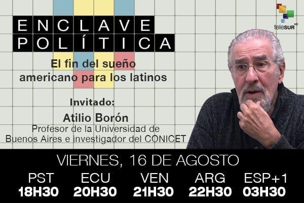Entrevista para @EnClavePolitik transmitida por teleSUR 16 de agosto de 2019