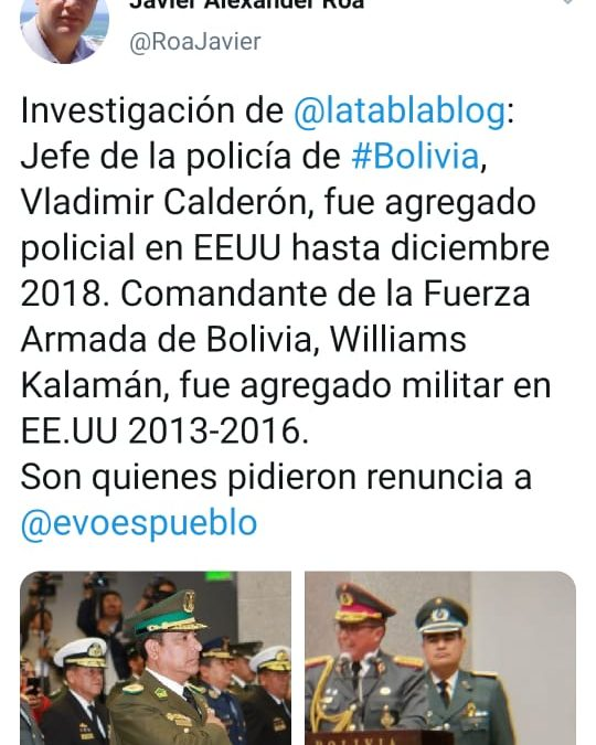 El imperio contraataca en Bolivia. En mi nota que hoy publicará Página/12 yo decía que la influencia de EEUU era muy importante para entender el golpe. Vean esto: