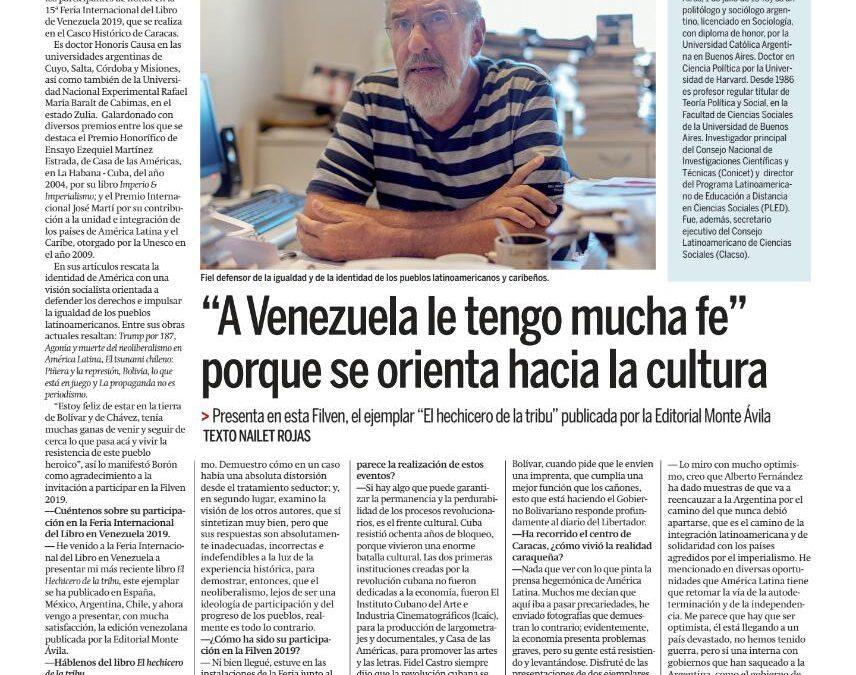 Nota en el diario Ciudad Caracas, viernes 8 de noviembre